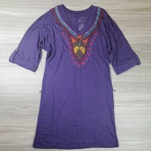 Miley Cyrus Purple Tribal Print Maxi Dress Size M